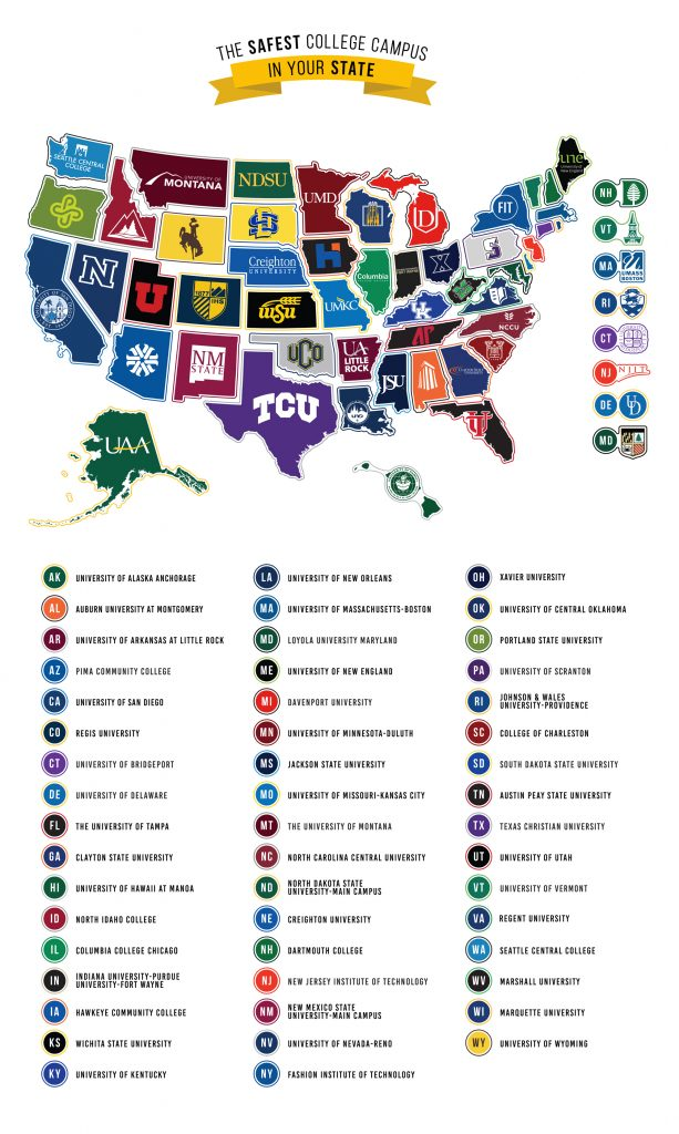 Image showing the safest college campus in each state.